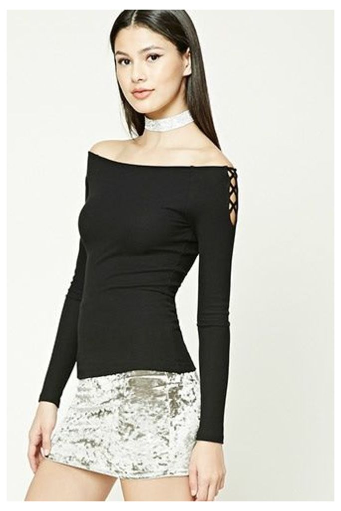 Off-the-Shoulder Geo Cutout Top