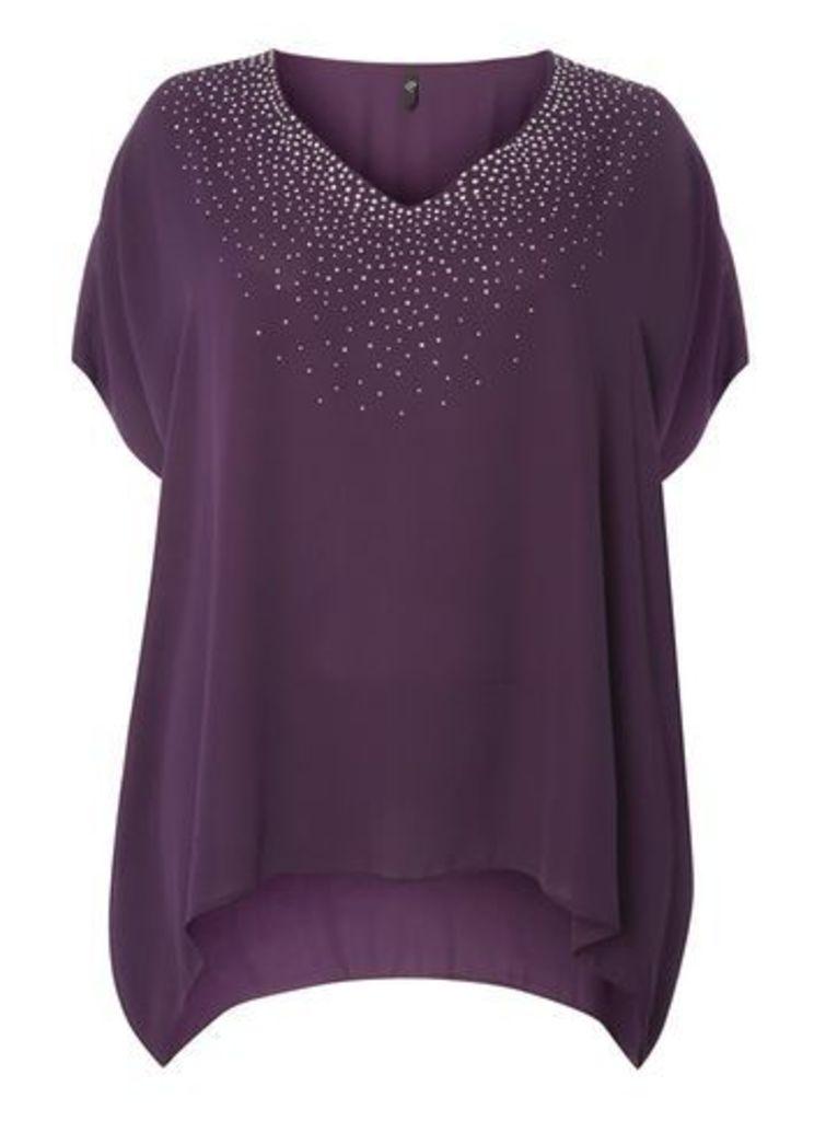 Purple Sparkle V-Neck Top, Plum