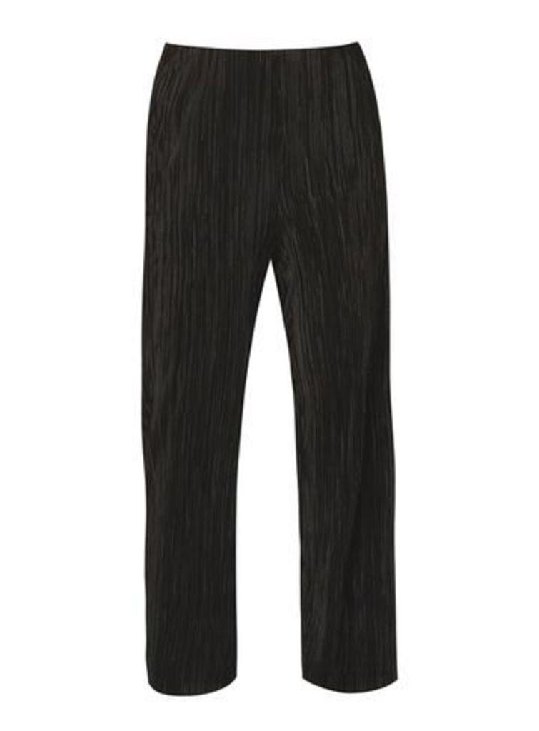 Black Pleated Wide Leg Trousers, Black