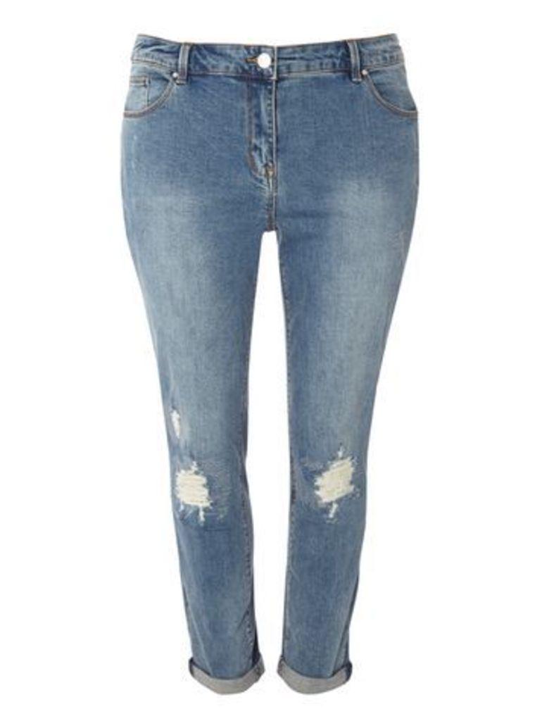 Ripped Sparkle Boyfriend Jeans, Denim