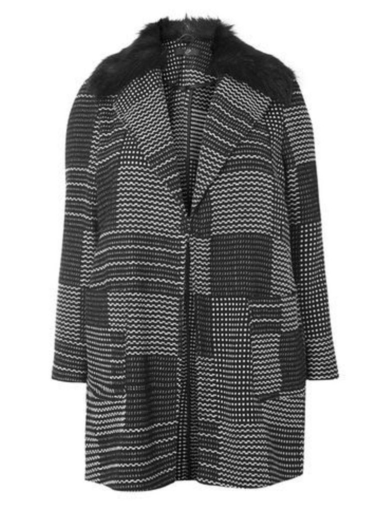 Black and White Detachable Faux Fur Collar Jacket, Black