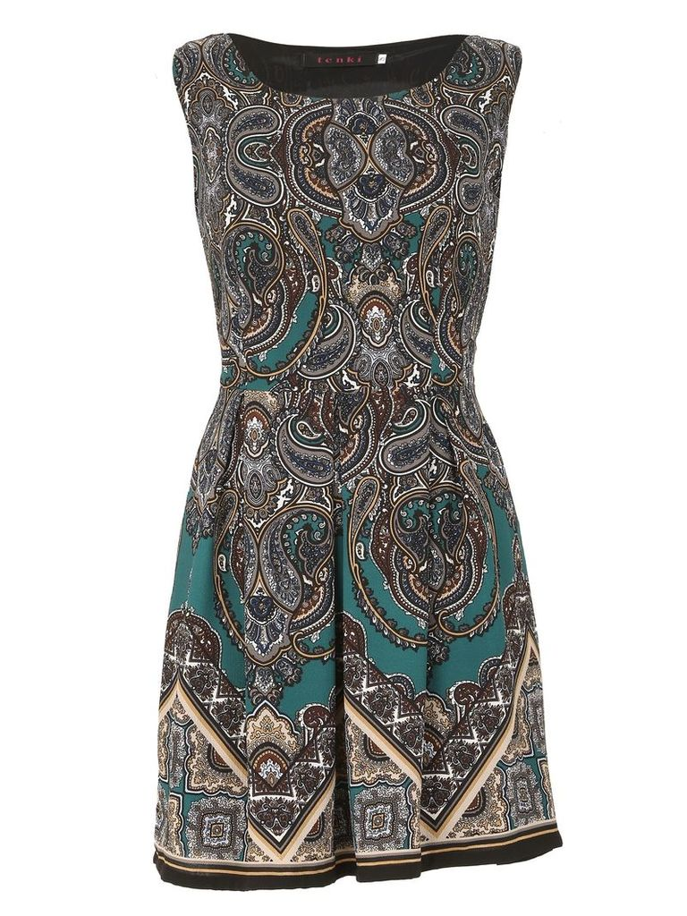 TENKI Sleeveless Paisley Print Skater Dress, Green