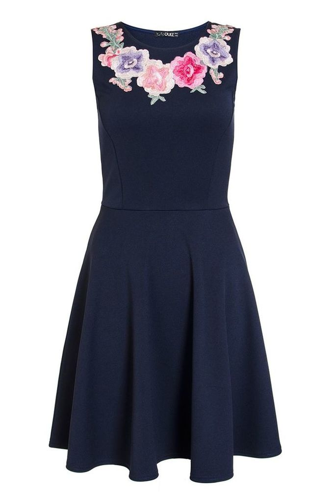 Quiz Navy Embroidered Flower Skater Dress, Navy