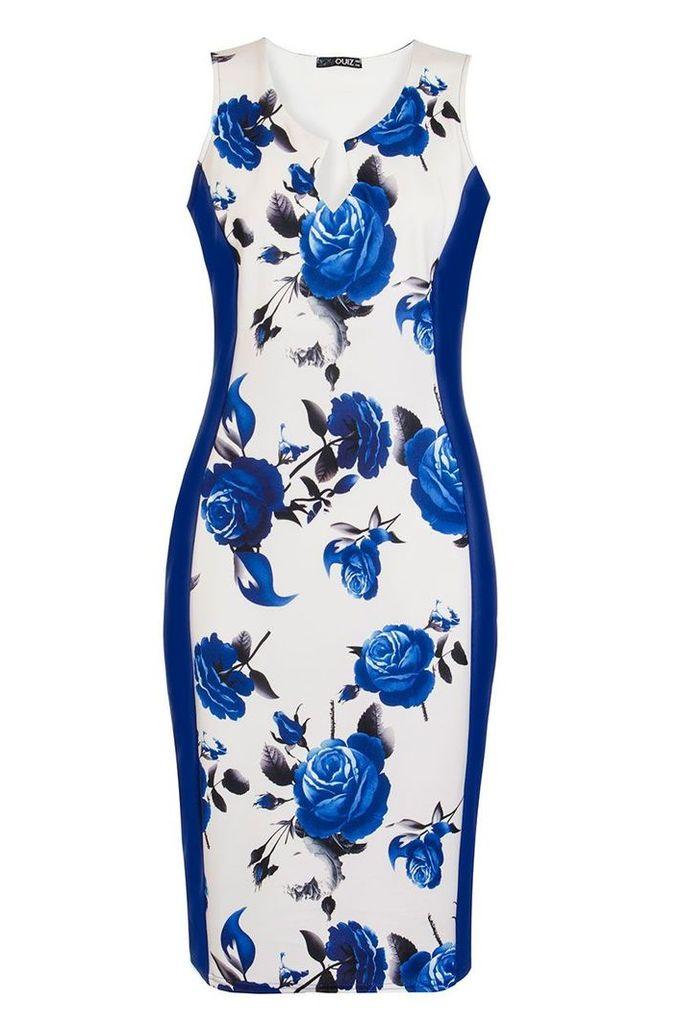 Quiz Cream And Blue Floral Panel Midi Dress, Cream