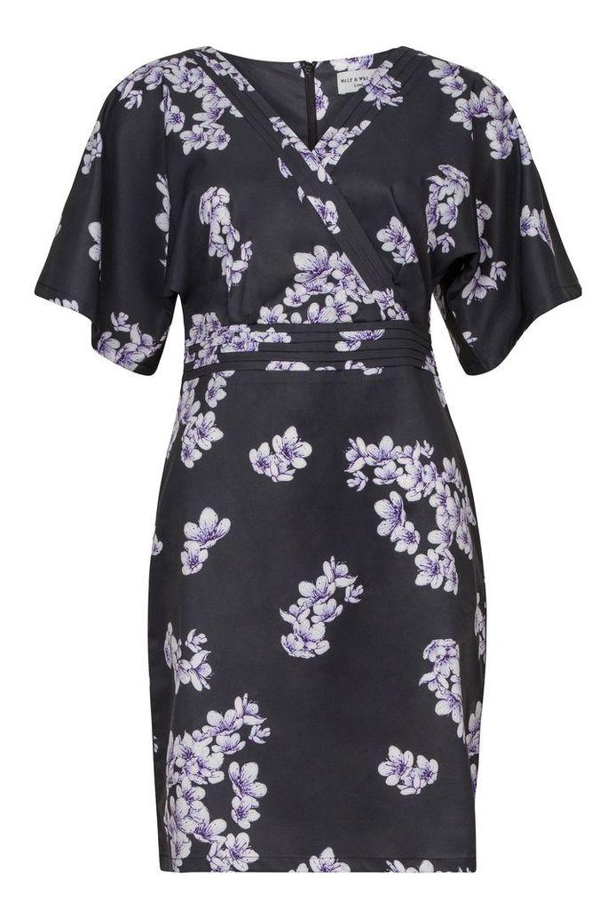 Wolf & Whistle Drawn Blossom Kimono Sleeve Dress, Black
