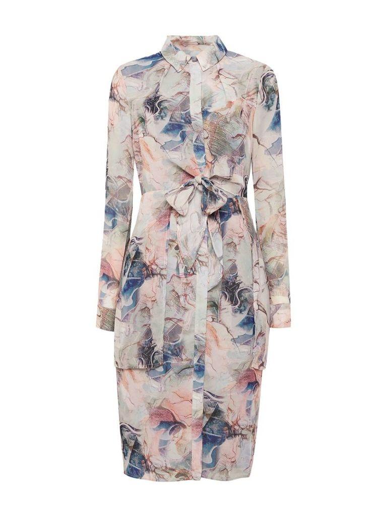 Lost Ink Longsleeve Print Tie Shirt Dress, Multi-Coloured