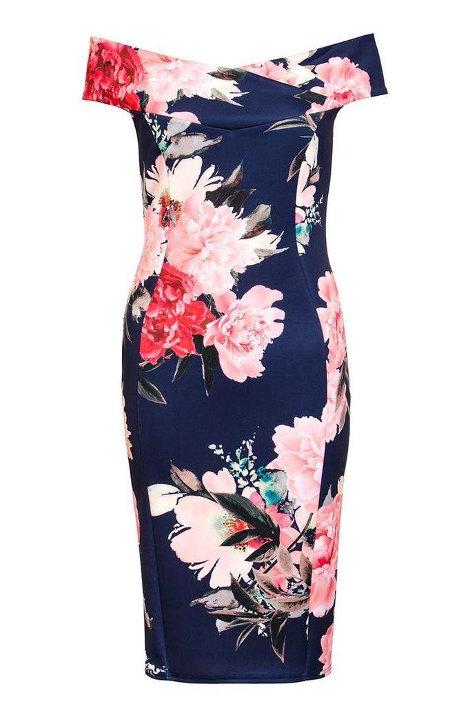 Quiz Navy And Pink Bardot Dip Hem Dress, Navy