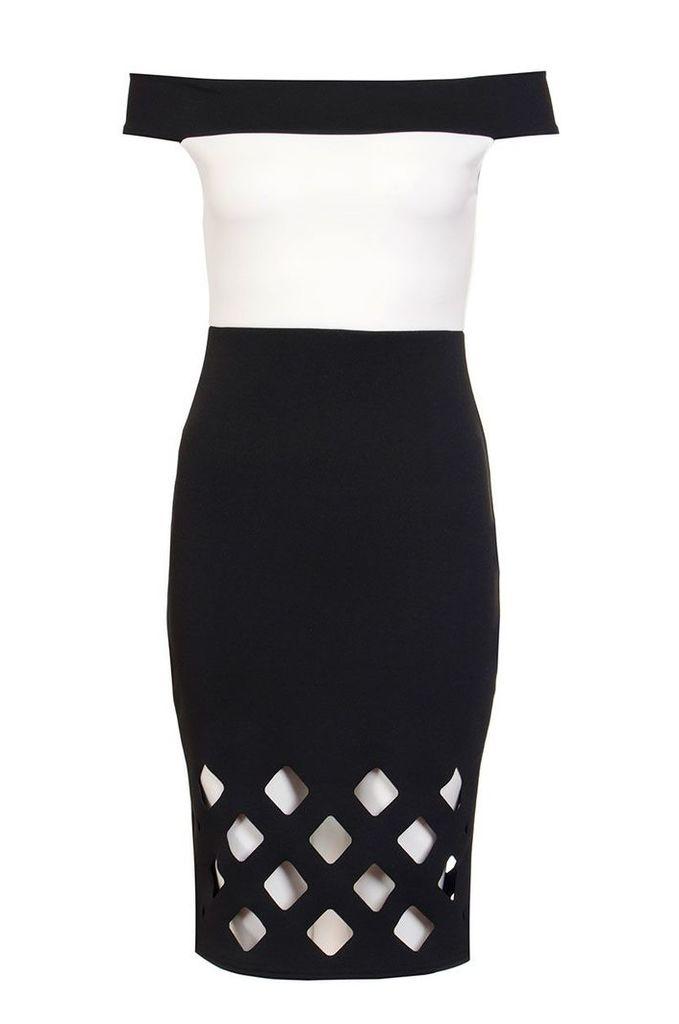 Quiz Bardot Laser Cut Midi Dress, Cream