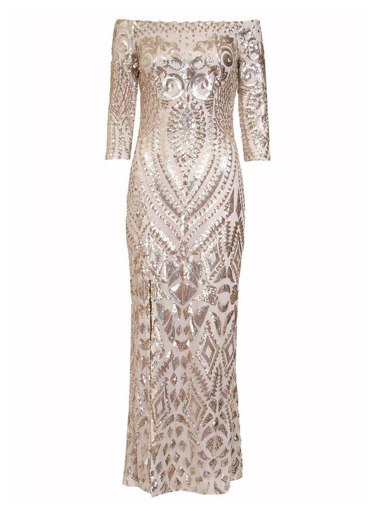Quiz Champagne Fishtail Maxi Dress, Gold Metallic