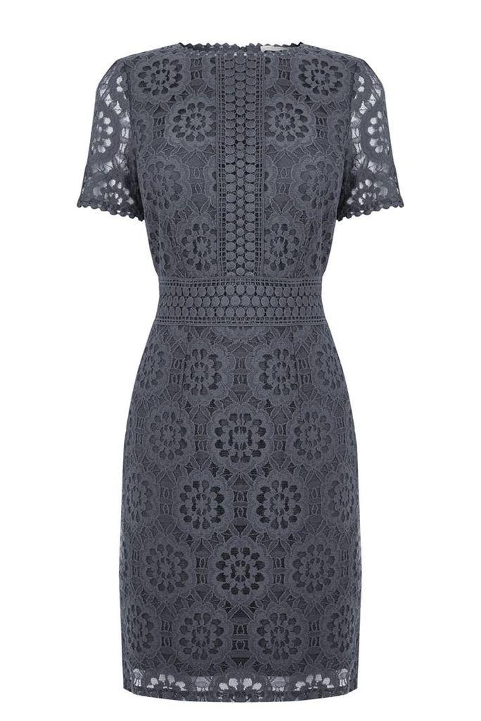 Oasis Isla Lace Dress, Grey