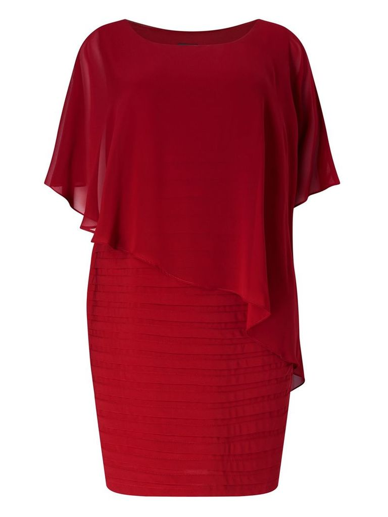 Adrianna Papell Short Sleeve Popover Bandeau Dress, Red