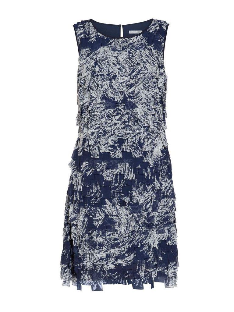Gina Bacconi Navy off white fringe chiffon dress, Navy