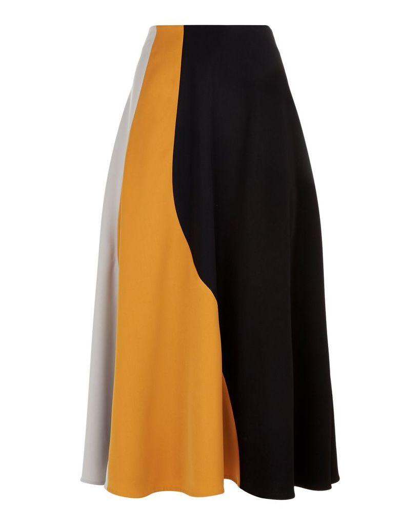 Jaeger Colour Block Panel Skirt, Multi-Coloured