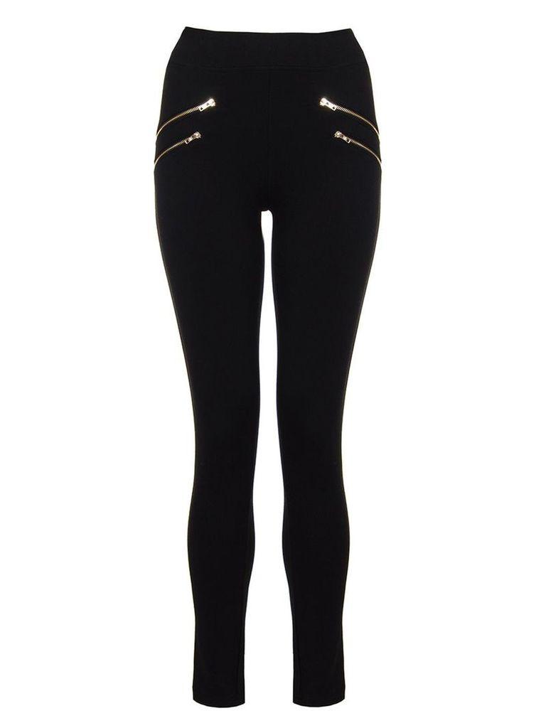 Quiz Black Four Gold Zip Leggings, Black