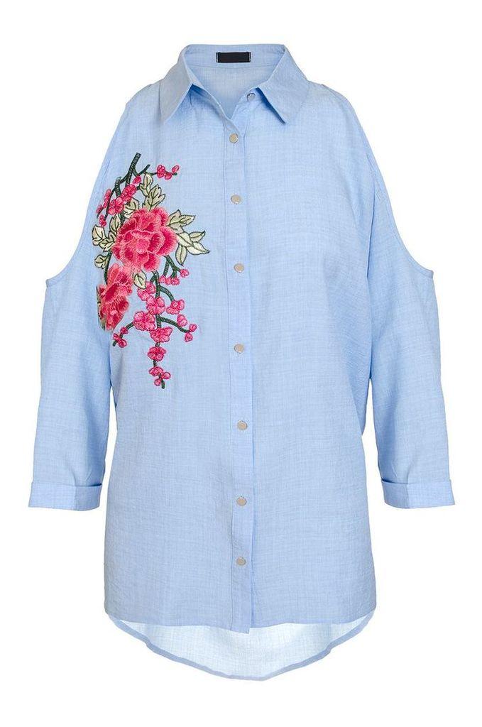 Quiz Blue Chambray Cold Shoulder Shirt, Blue