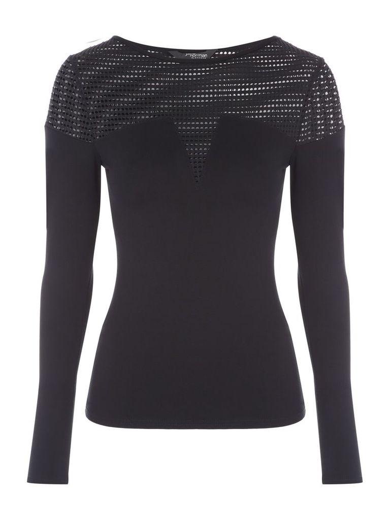 Jane Norman Long Sleeve Mesh Top, Black