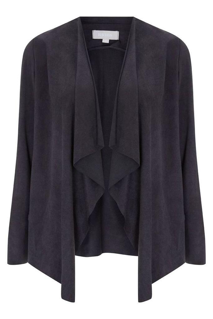Havren Suedette Waterfall Jacket, Black