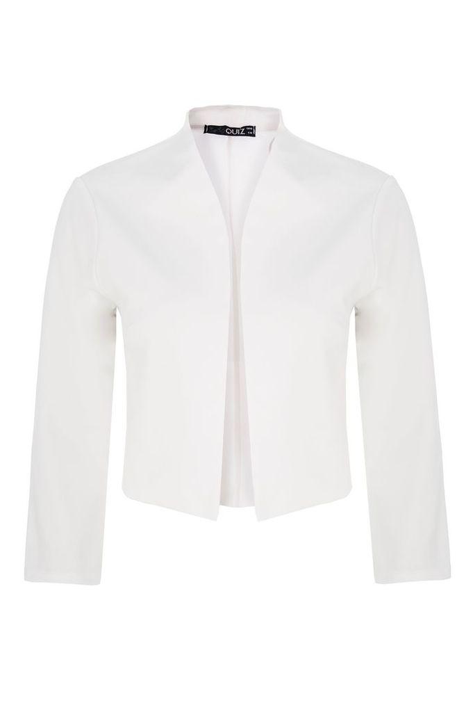 Quiz Cream Cropped 3/4 Sleeve Jacket, Cream