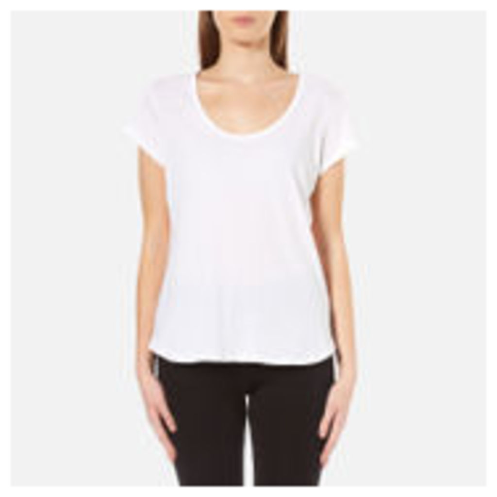 UGG Women's Betty Brushed Jersey Knit Short Sleeve T-Shirt - White - L