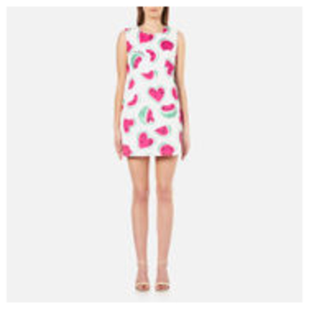 Love Moschino Women's All Over Heart Watermelon Print Shift Dress - White/Waterelon - EU 42