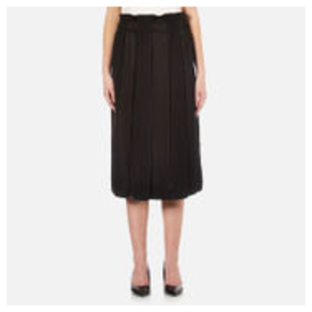 DKNY Women's Paneled Skirt with Hidden Drawcord - Black - L