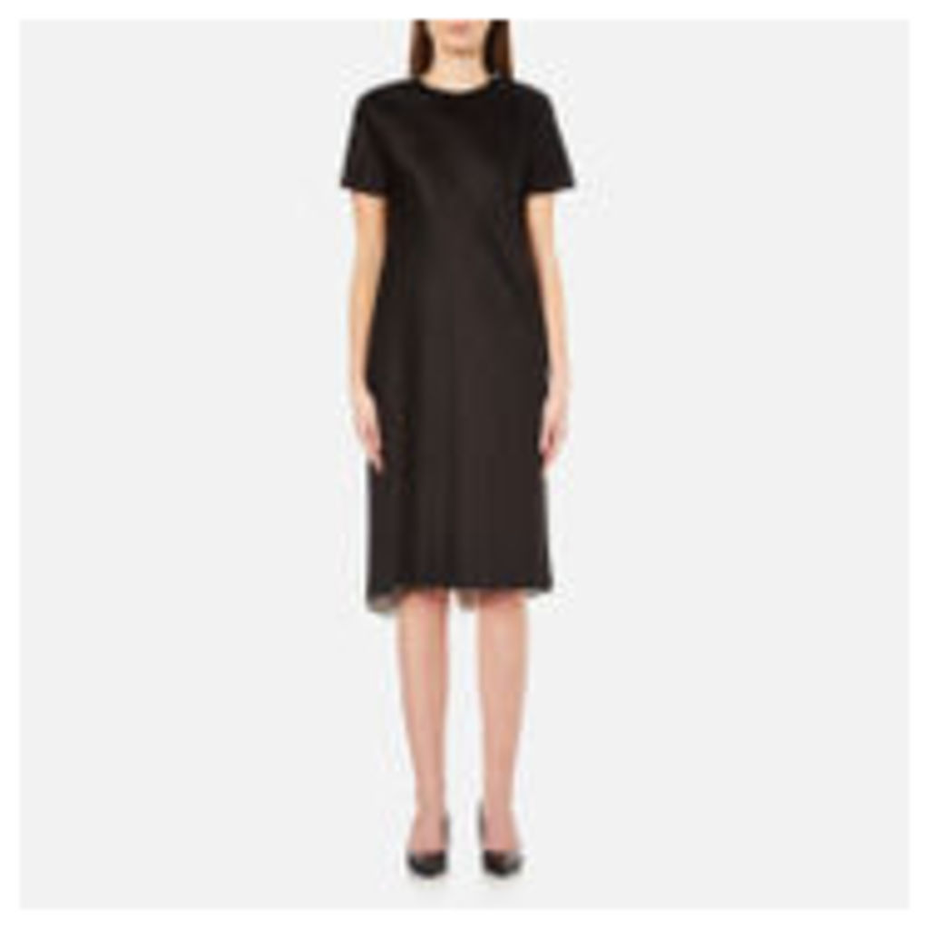 DKNY Women's Short Sleeve Reversible Layered Dress with Back Slit - Black/Gesso - UK 12/US 8