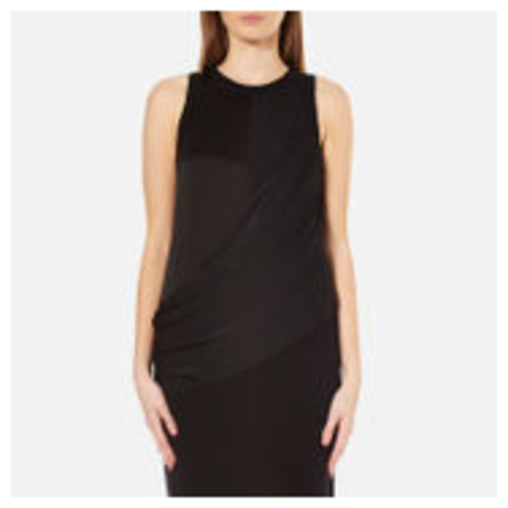 DKNY Women's Sleeveless Mixed Media Wrap Front Dress with Side Slits - Black - M