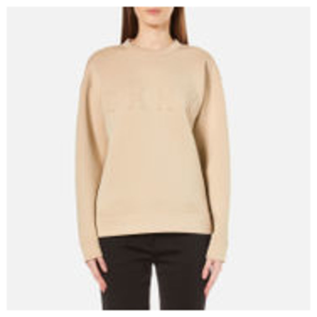 DKNY Women's Long Sleeve Pullover with Front Logo - Nude - S