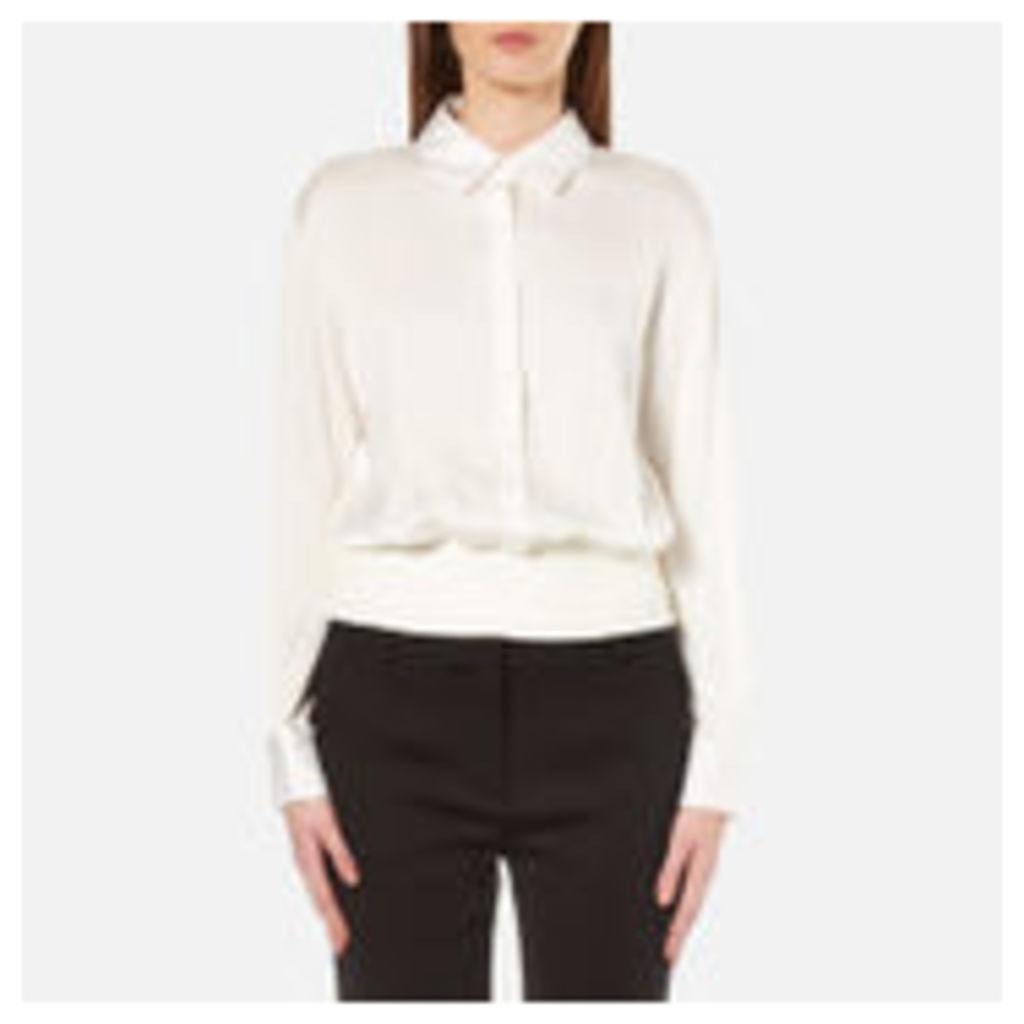 DKNY Women's Button Through Pullover with Ribbed Hem - Gesso - M