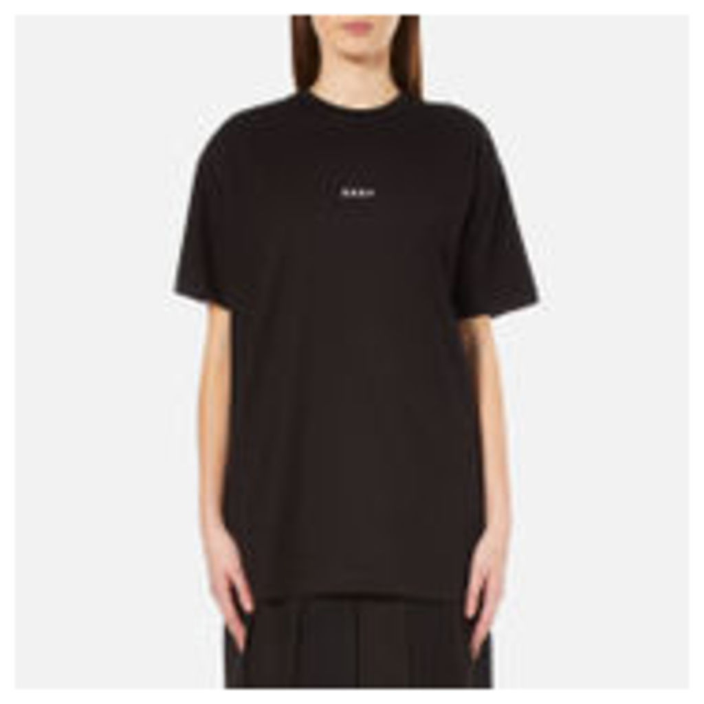 DKNY Women's Short Sleeve Crew Neck Oversized Kit Top with Logo - Black - P-S