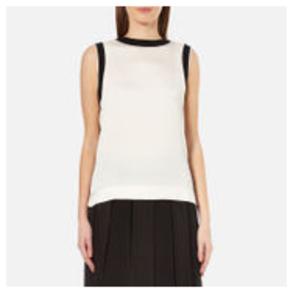 DKNY Women's Sleeveless Mixed Media Tank with Combo Detail - Gesso/Black - L