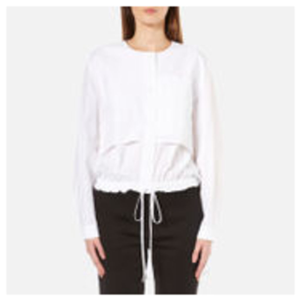 DKNY Women's Long Sleeve Cinch Waist Shirt Tail Pullover - White - M