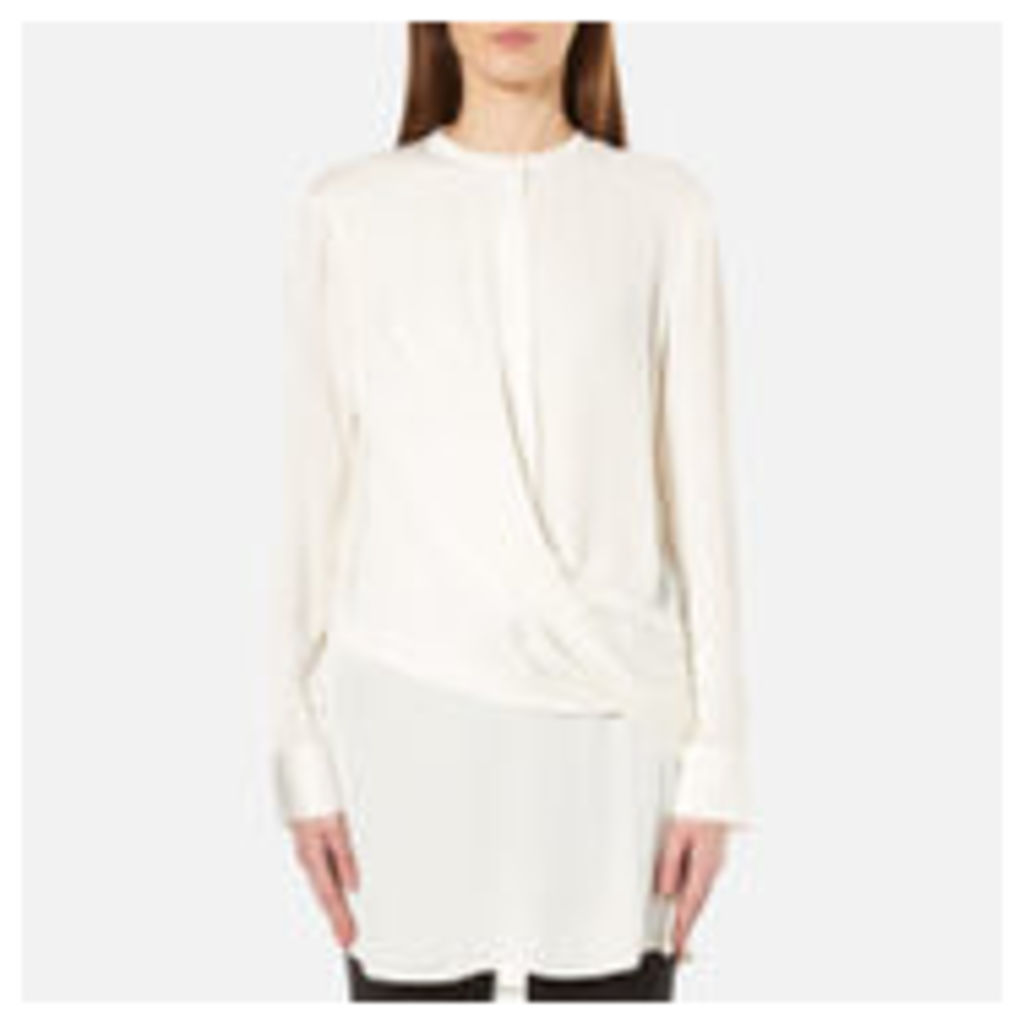 DKNY Women's Long Sleeve Wrap Front Tunic Shirt - Gesso - M