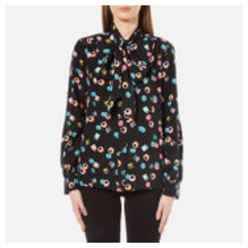 Marc Jacobs Women's Assorted Licorice Tie Neck Blouse - Black/Multi - UK 12/US 8