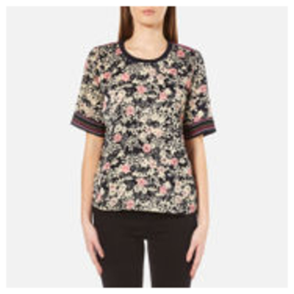 Maison Scotch Women's Silky Feel Top with Placement Prints - Multi - 3/UK 12