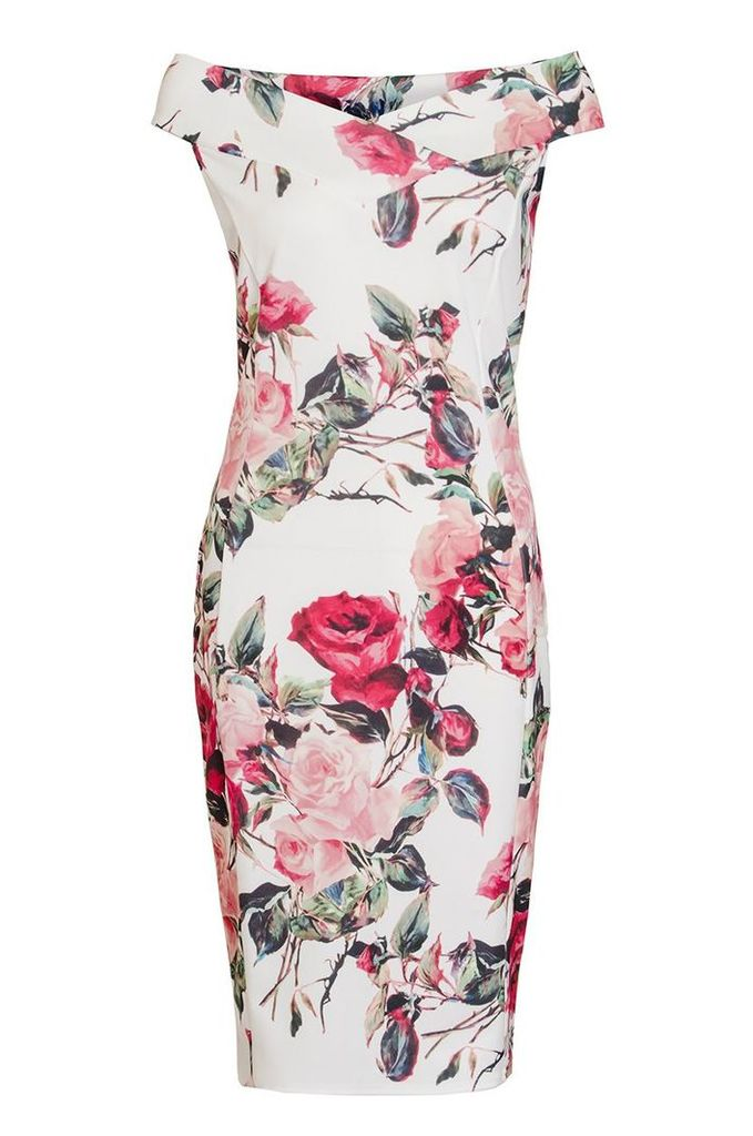 Quiz Cream And Red Floral Bardot Dress, Cream