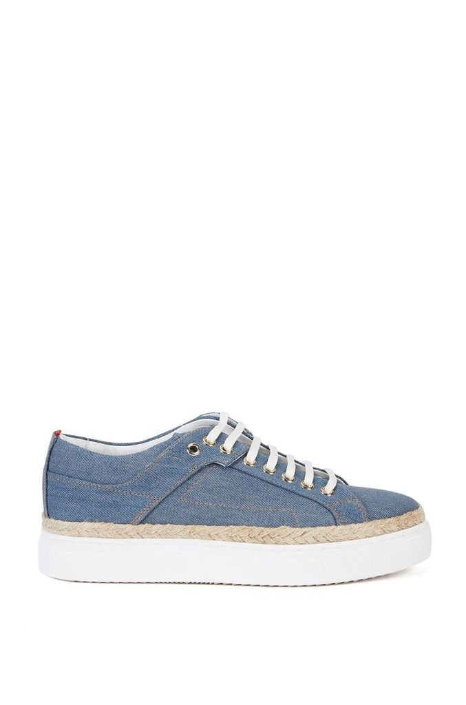 Denim-look trainers with platform sole: `Connie-D`