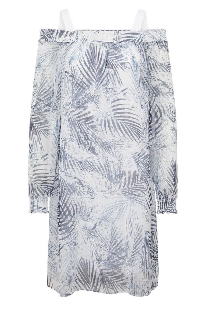 Relaxed-fit Carmen dress in material blend with palm-tree print: `Acarmy`