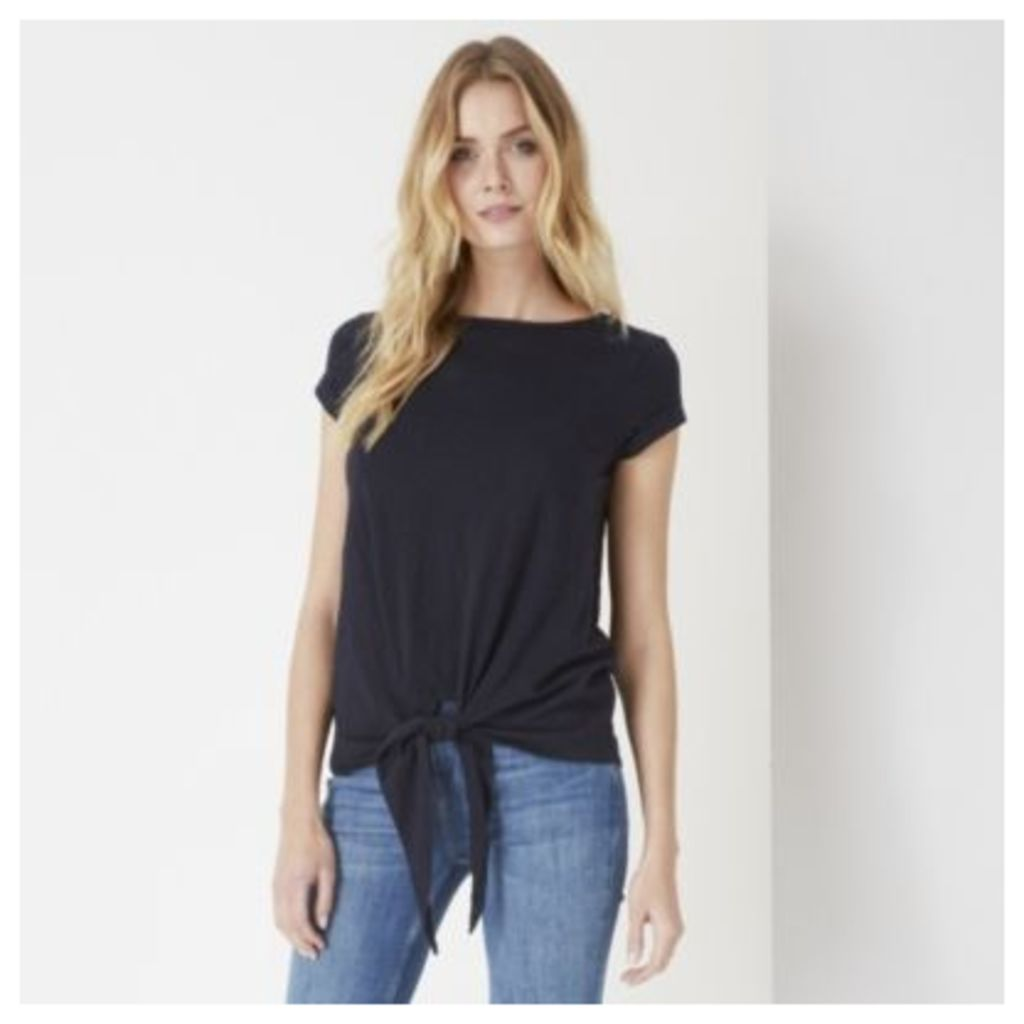 Cotton Slub Tie Front T-Shirt