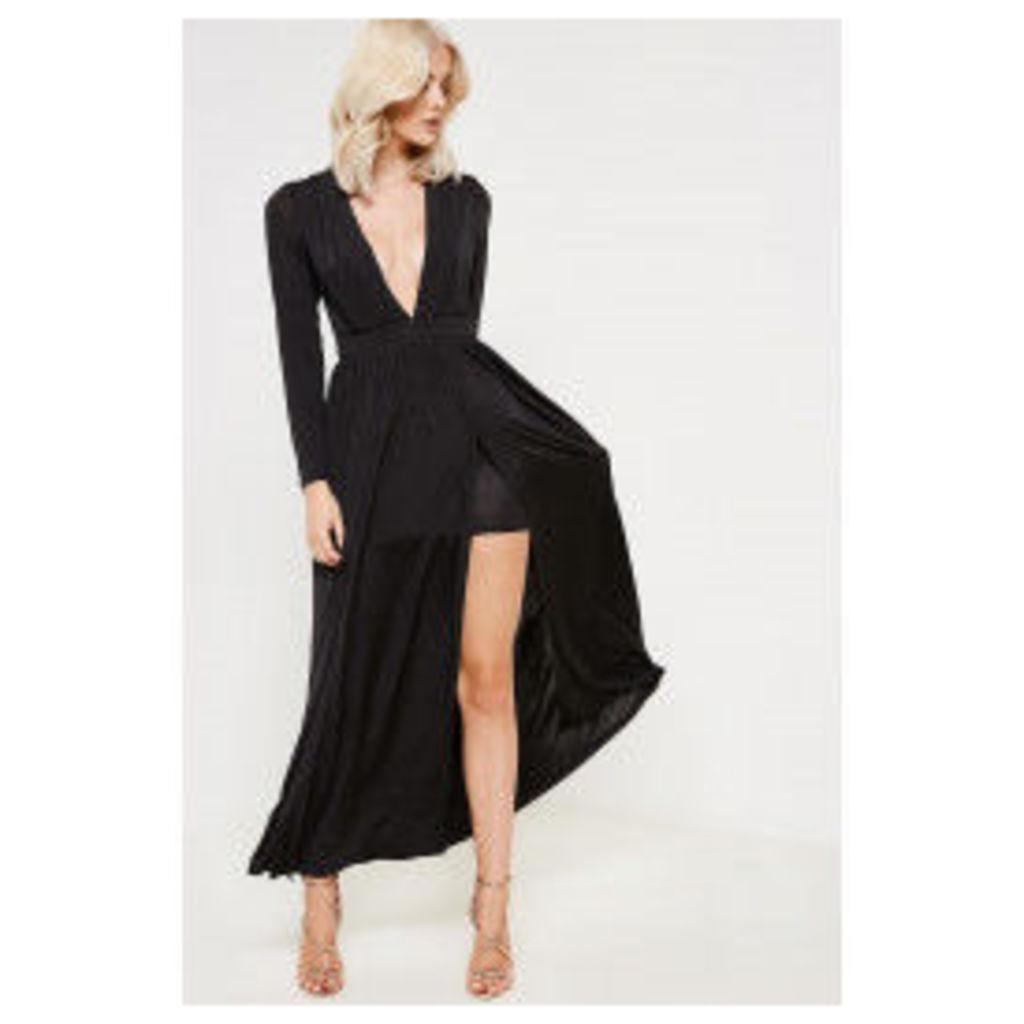 Girl In Mind Olivia Plunge Split Maxi Dress - Black