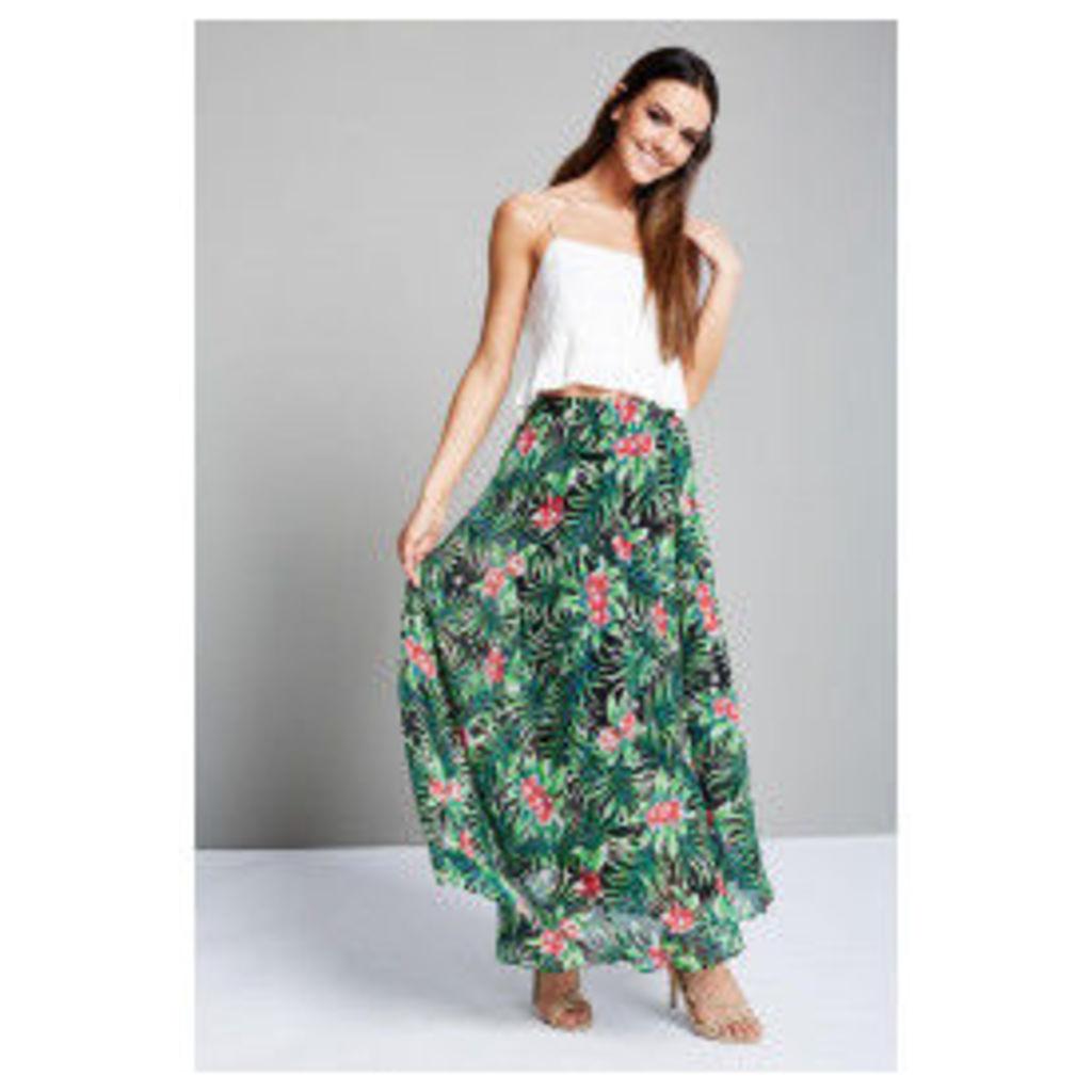 Style London Floral Print Skirt - Black