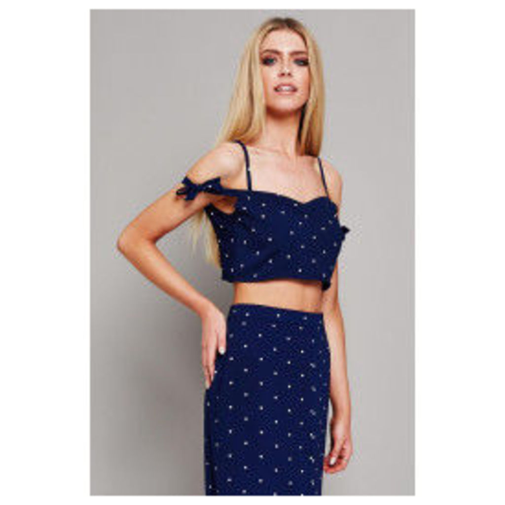 Glamorous Cold Shoulder Strappy Top - Blue