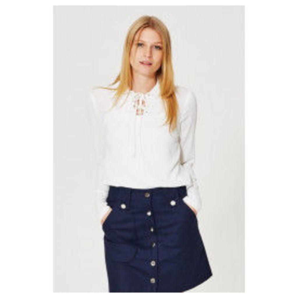 Fashion Union Tie Neck Blouse - Off-White