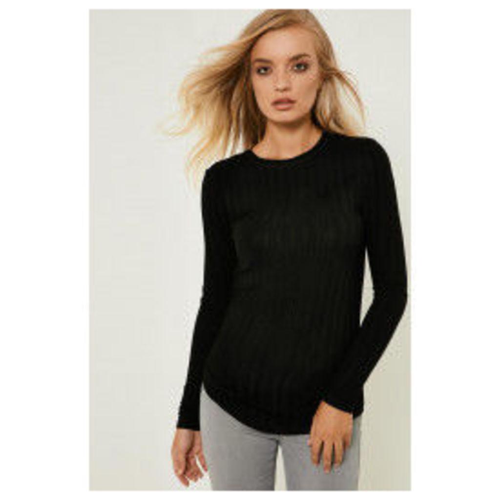 Y.A.S Laken Long Sleeve Top - Black