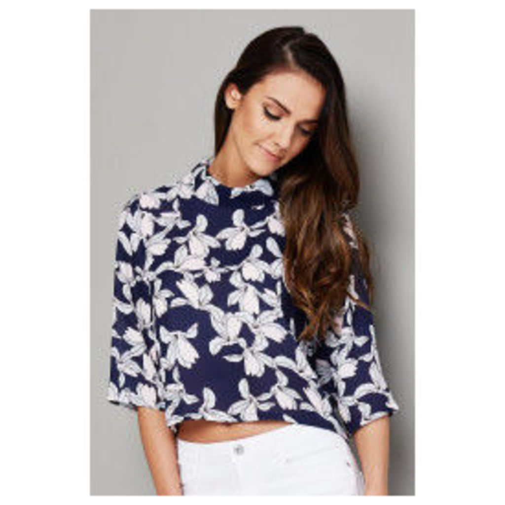 Fashion Union Zip Fasten Cowl Neck Top - Blue