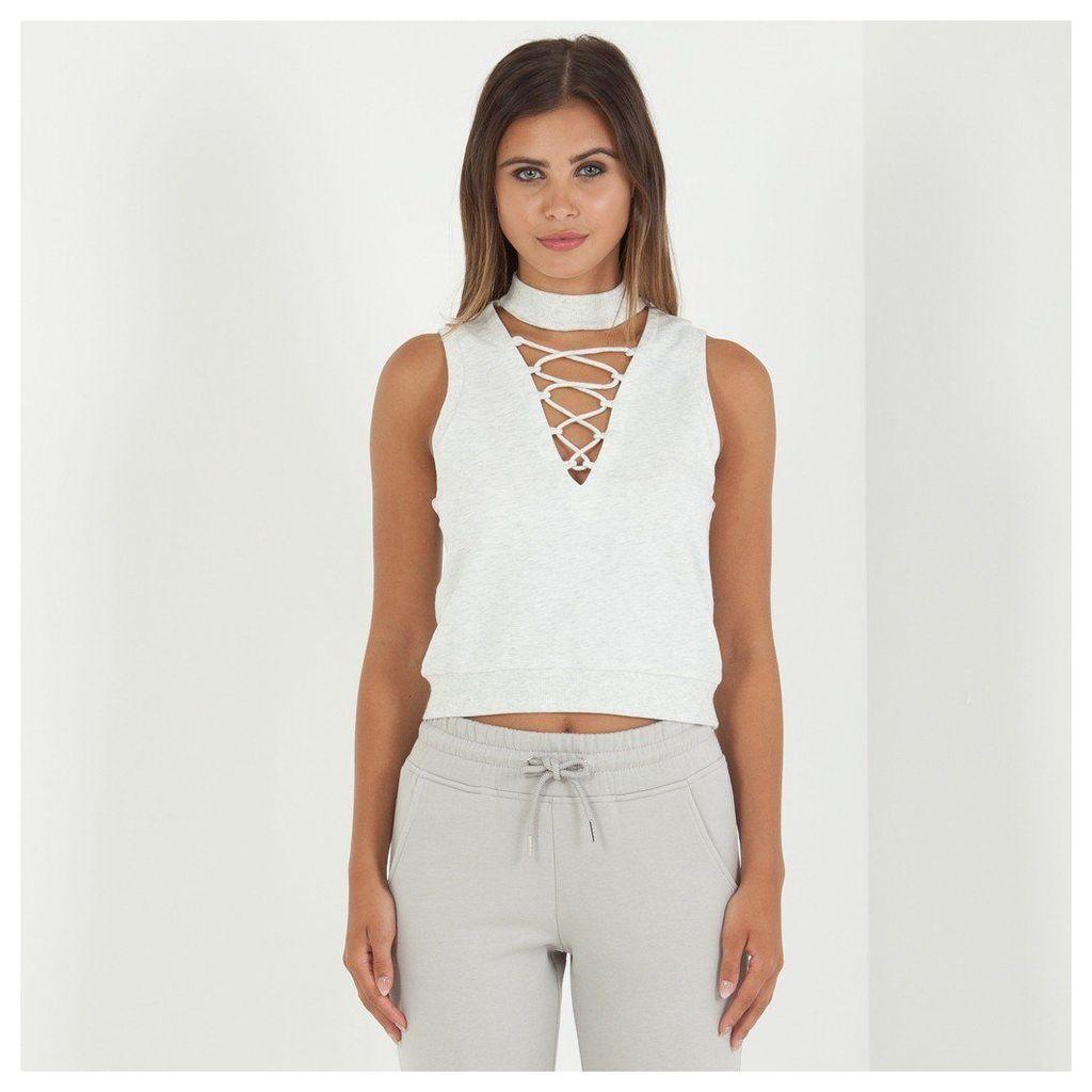 Maniere De Voir; Lace-Up High Neck Top - Light Grey Marl