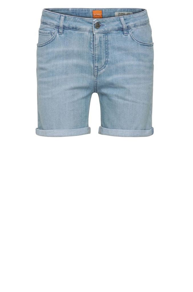 Relaxed jeans shorts in stretchy cotton blend: `Orange J70 Hershey`