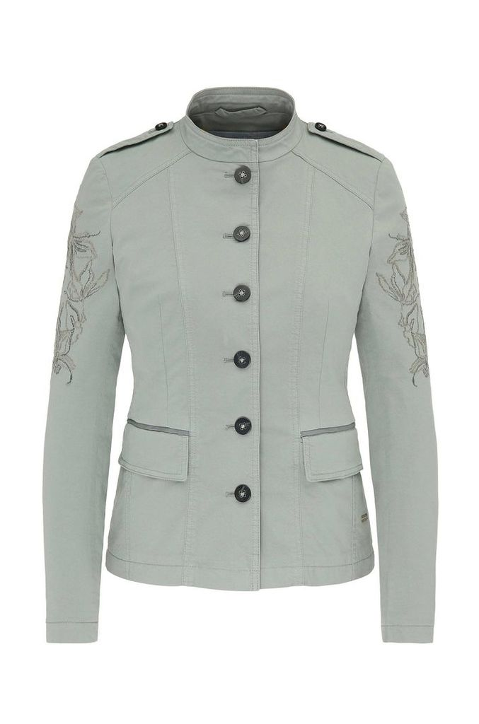 Embroidered military jacket in stretch cotton: `Obreuny-D`