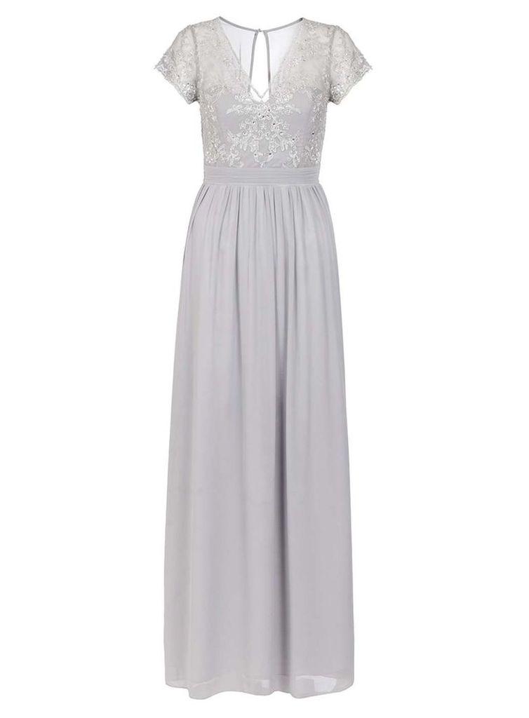 Womens *Quiz Grey Embroidered Chiffon Maxi Dress- Grey