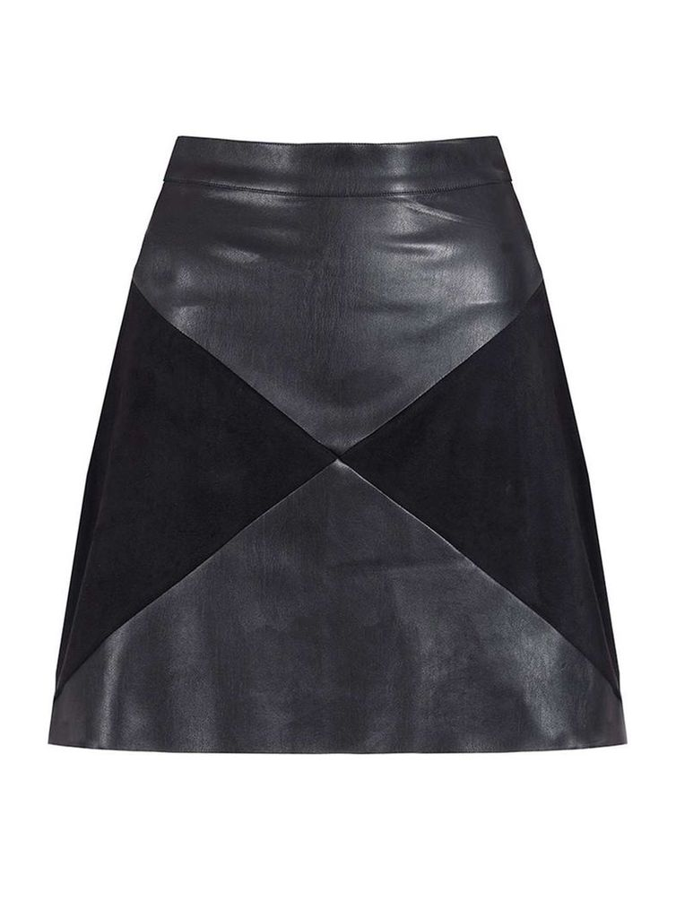 Womens **Quiz PU Panel Zip Mini Skirt- Black